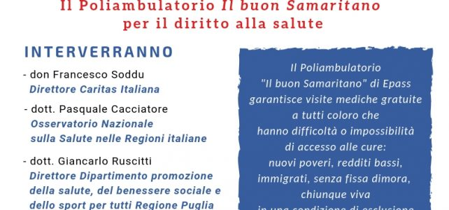 Poliambulatorio gratuito Il buon Samaritano, il 2 febbraio l'inaugurazione ufficiale
