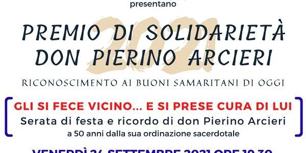 Premio di Solidarietà don Pierino Arcieri, appuntamento aperto a tutti venerdì 24 settembre